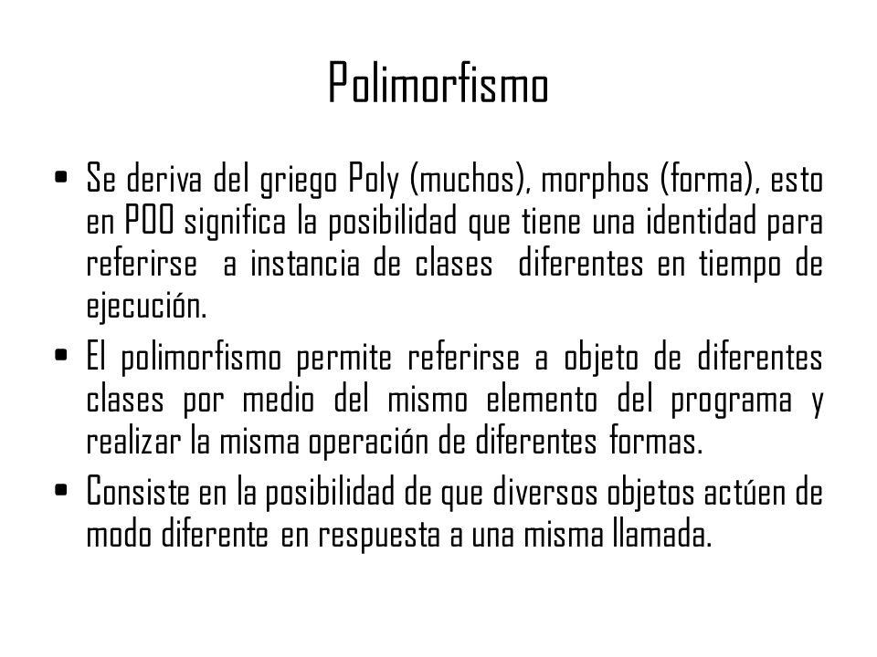 Polimorfismo Se deriva del griego Poly (muchos), morphos (forma), esto en POO significa la posibilidad que tiene una identidad para referirse a instan
