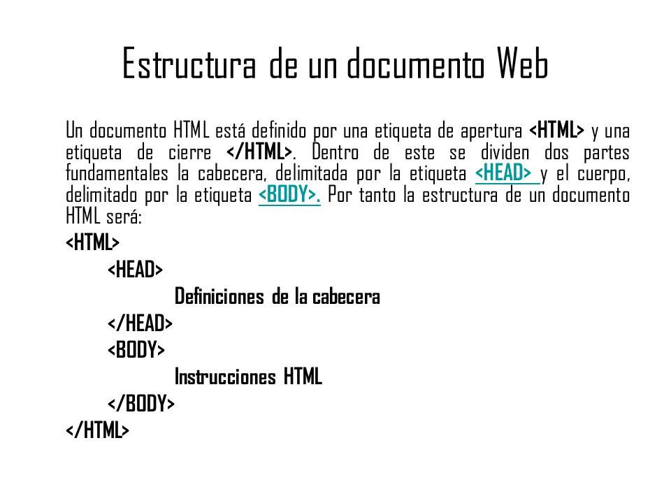 Estructura de un documento Web Un documento HTML está definido por una etiqueta de apertura y una etiqueta de cierre. Dentro de este se dividen dos pa