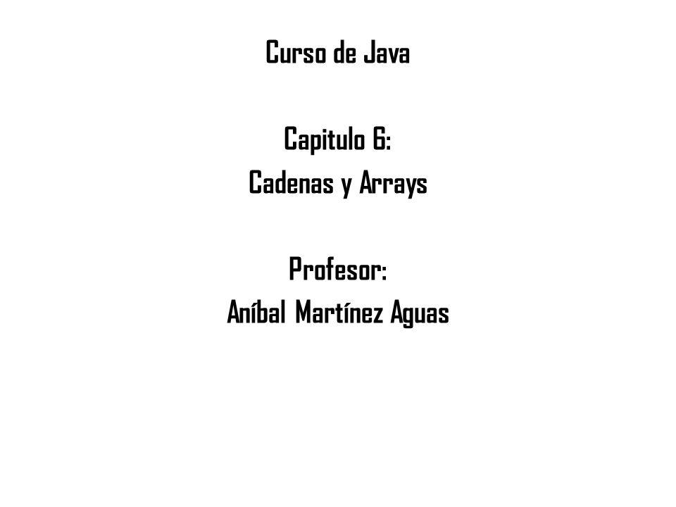 Curso de Java Capitulo 6: Cadenas y Arrays Profesor: Aníbal Martínez Aguas