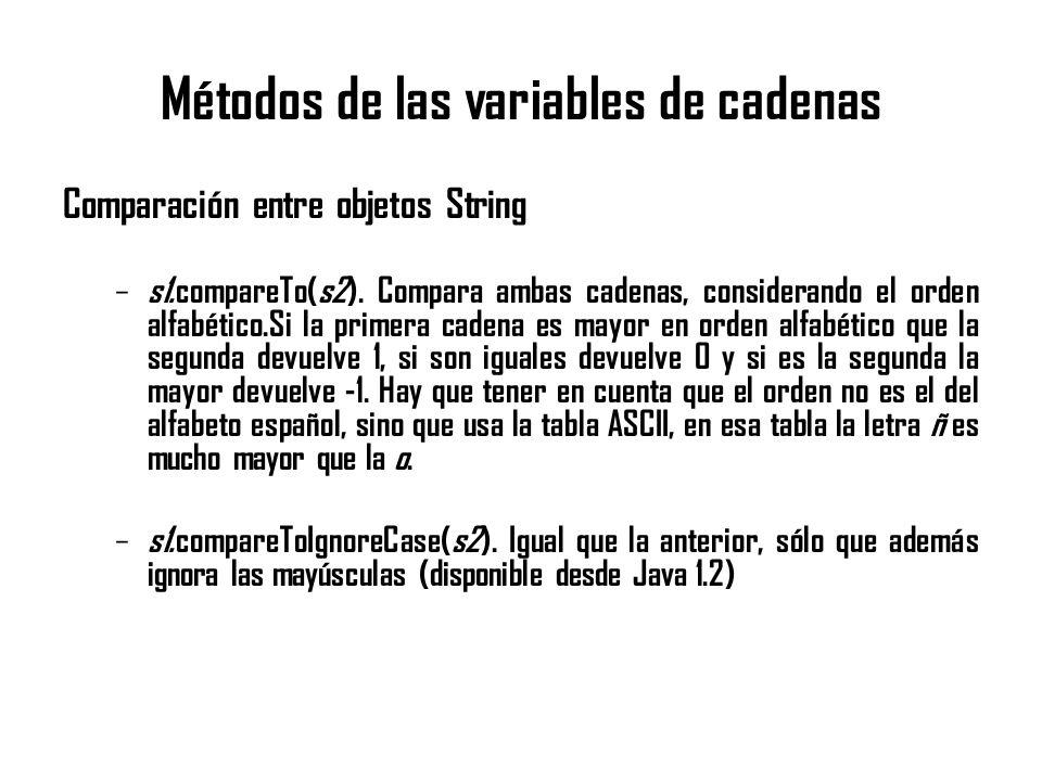 Métodos de las variables de cadenas Comparación entre objetos String – s1.compareTo(s2). Compara ambas cadenas, considerando el orden alfabético.Si la