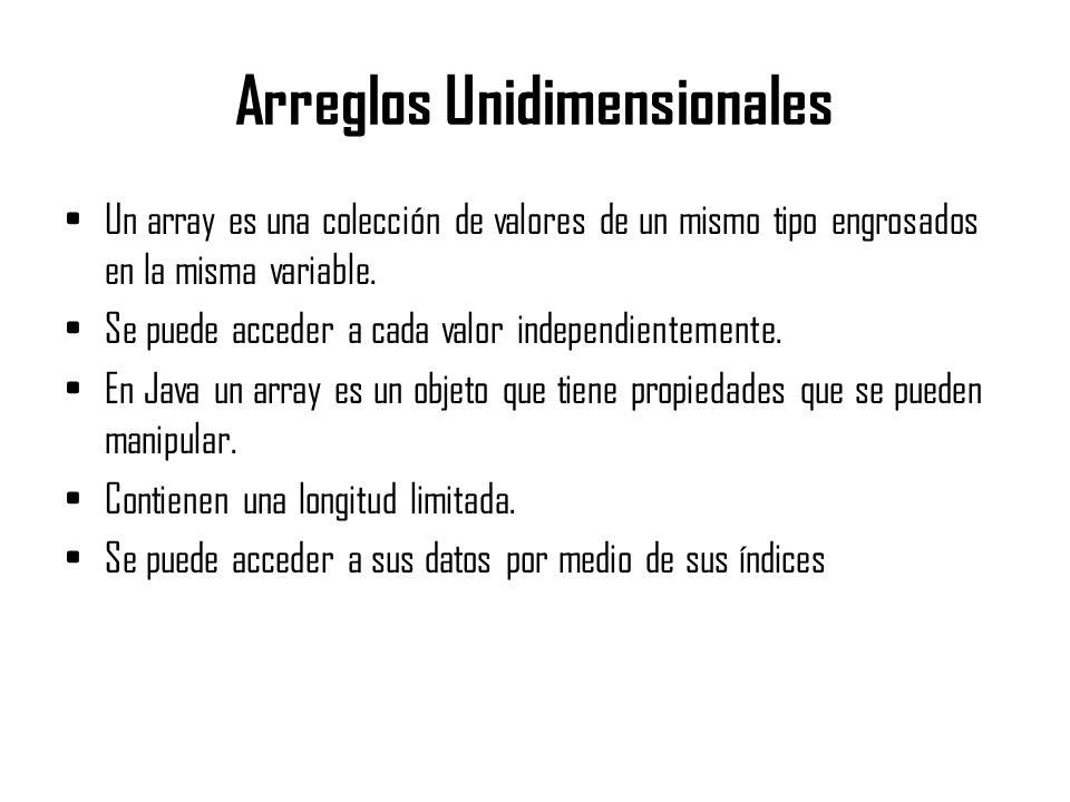 Arreglos Unidimensionales Un array es una colección de valores de un mismo tipo engrosados en la misma variable. Se puede acceder a cada valor indepen