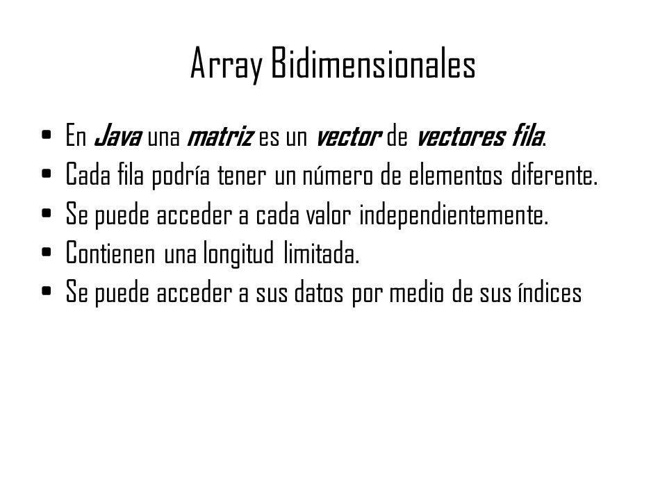 Array Bidimensionales En Java una matriz es un vector de vectores fila. Cada fila podría tener un número de elementos diferente. Se puede acceder a ca