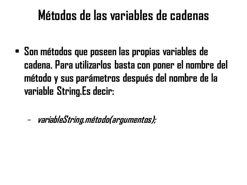 Métodos de las variables de cadenas Son métodos que poseen las propias variables de cadena. Para utilizarlos basta con poner el nombre del método y su