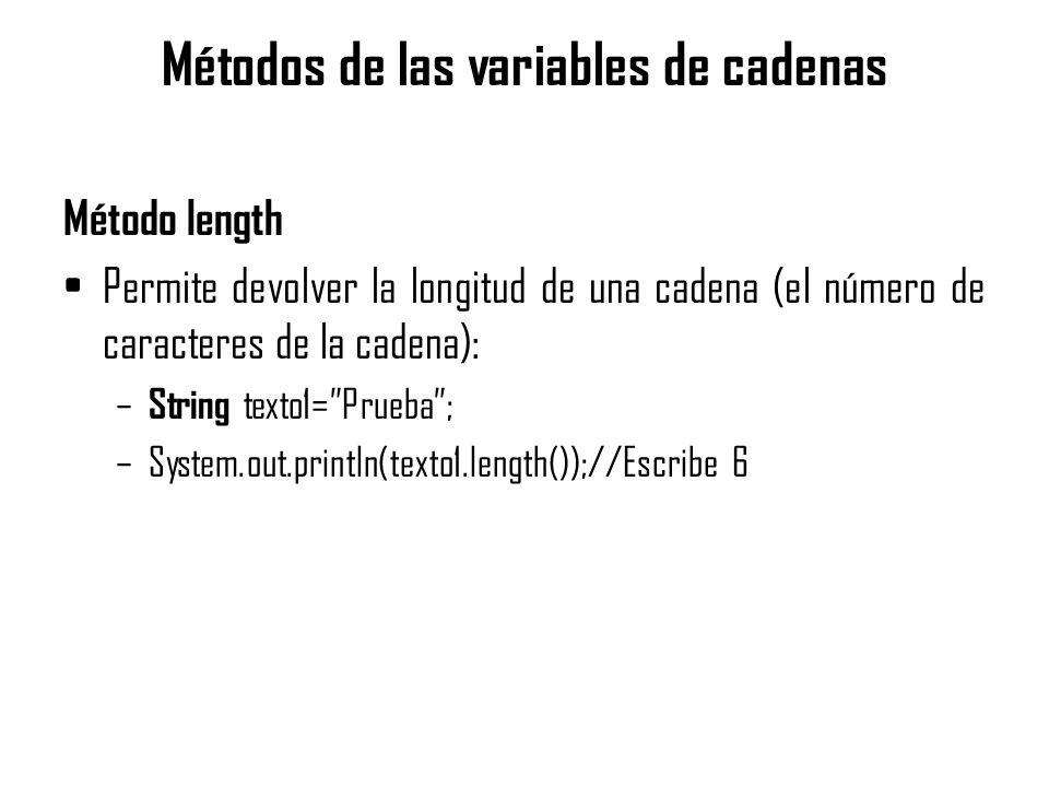 Métodos de las variables de cadenas Método length Permite devolver la longitud de una cadena (el número de caracteres de la cadena): – String texto1=P