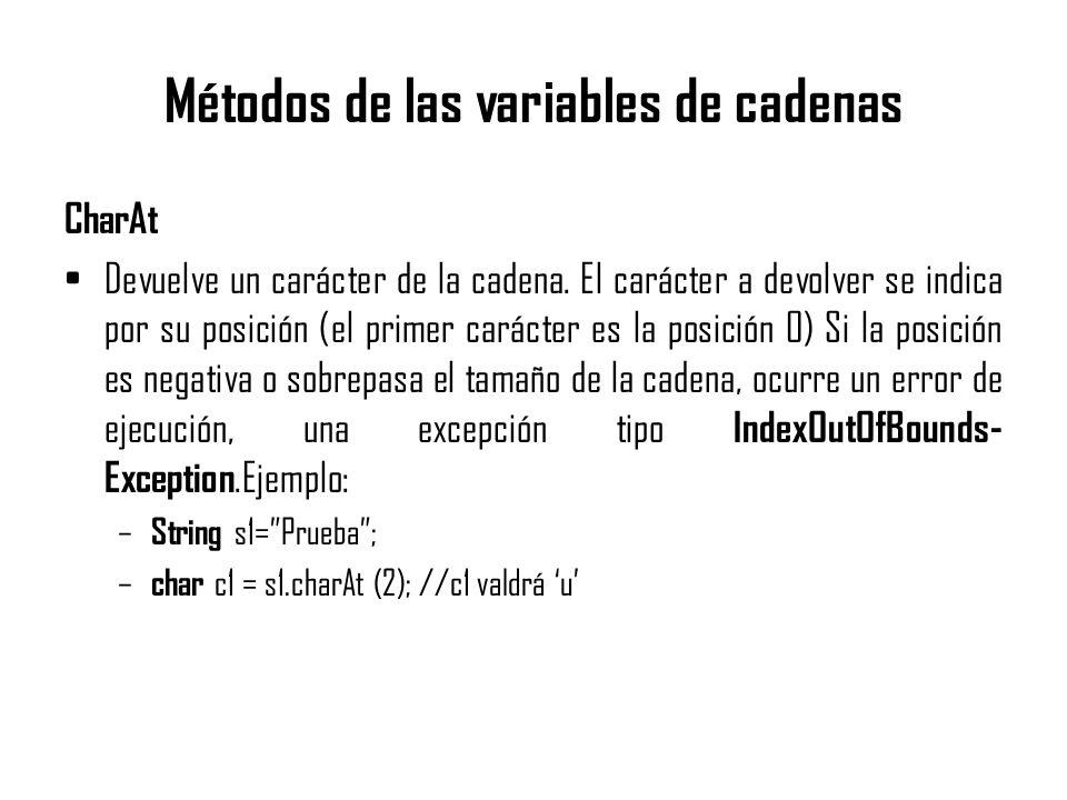 Métodos de las variables de cadenas CharAt Devuelve un carácter de la cadena. El carácter a devolver se indica por su posición (el primer carácter es