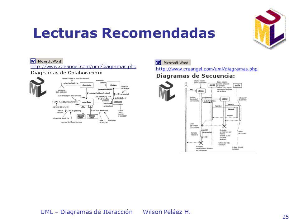 UML – Diagramas de IteracciónWilson Peláez H. 25 Lecturas Recomendadas