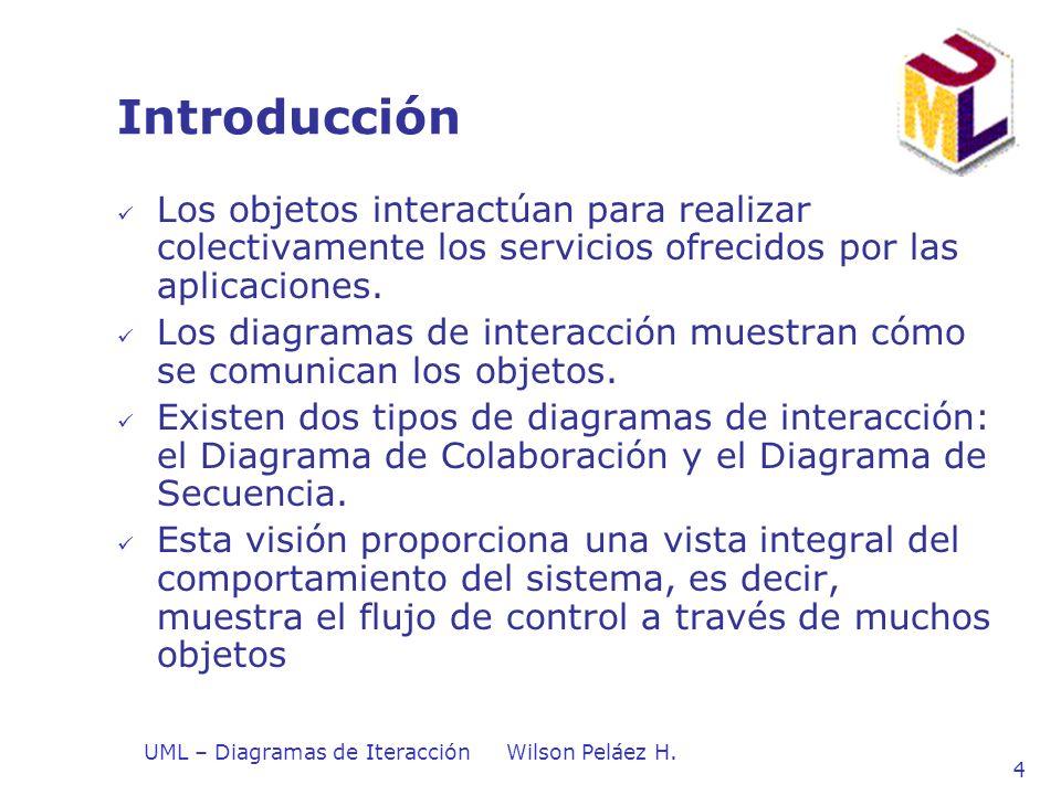 UML – Diagramas de IteracciónWilson Peláez H. 4 Introducción Los objetos interactúan para realizar colectivamente los servicios ofrecidos por las apli