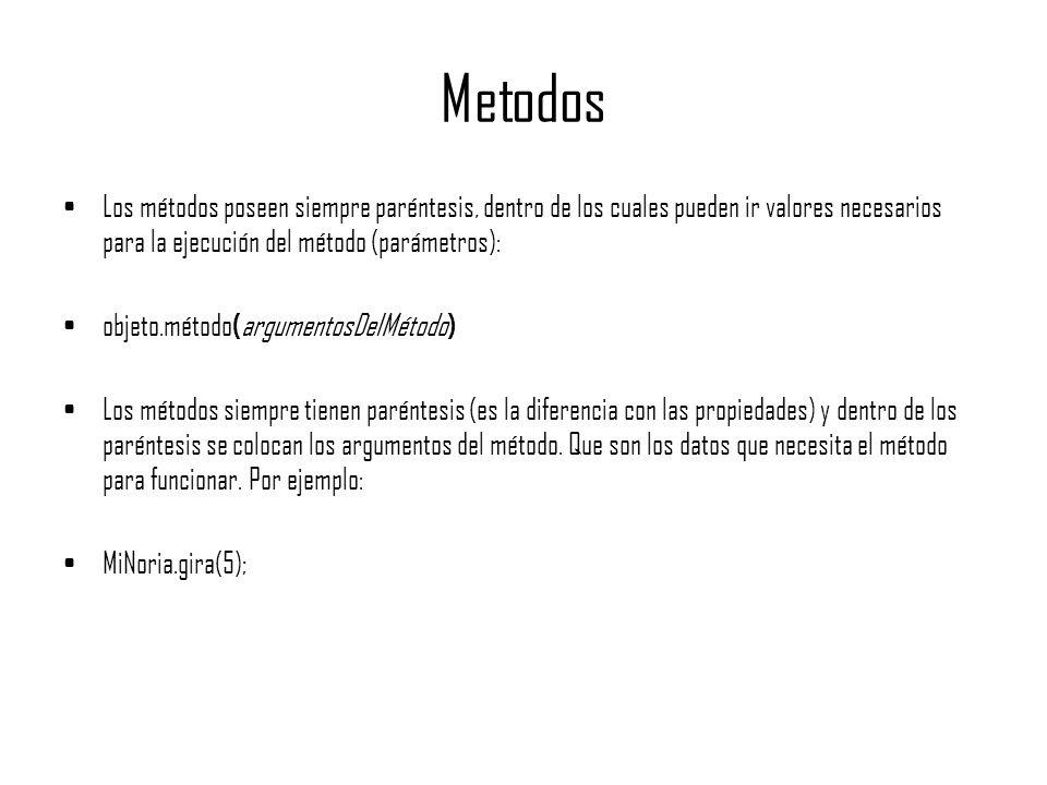 Metodos Los métodos poseen siempre paréntesis, dentro de los cuales pueden ir valores necesarios para la ejecución del método (parámetros): objeto.mét