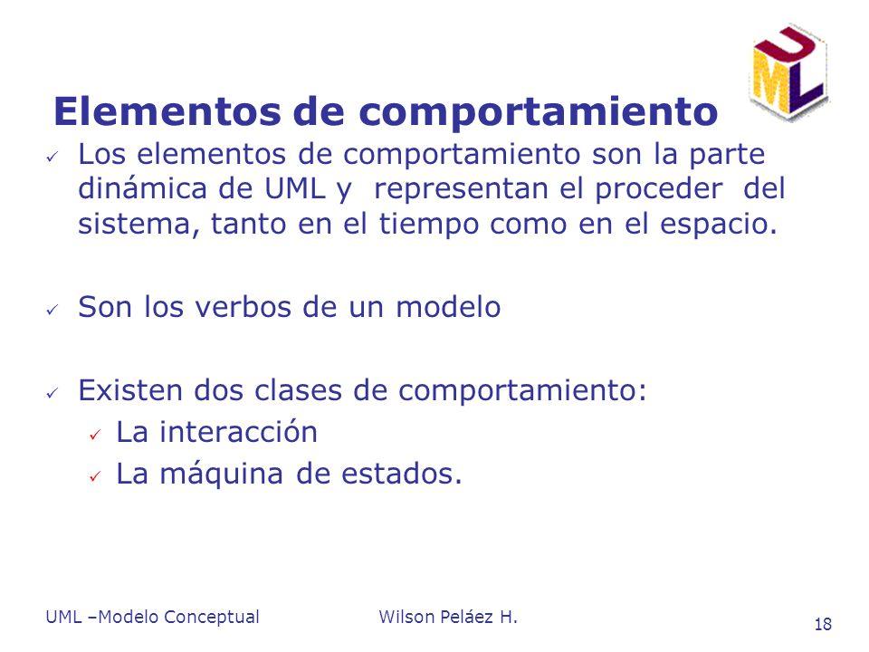 UML –Modelo ConceptualWilson Peláez H. 18 Elementos de comportamiento Los elementos de comportamiento son la parte dinámica de UML y representan el pr