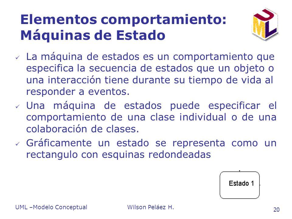 UML –Modelo ConceptualWilson Peláez H. 20 Elementos comportamiento: Máquinas de Estado La máquina de estados es un comportamiento que especifica la se