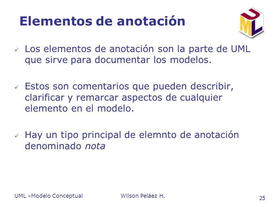 UML –Modelo ConceptualWilson Peláez H. 25 Elementos de anotación Los elementos de anotación son la parte de UML que sirve para documentar los modelos.