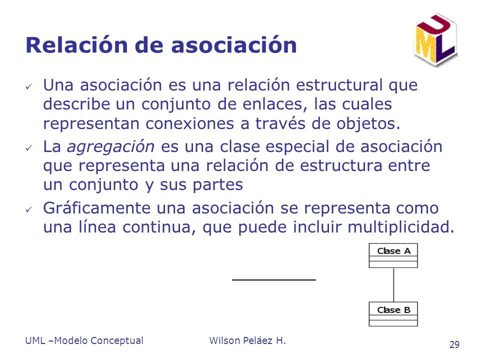 UML –Modelo ConceptualWilson Peláez H. 29 Relación de asociación Una asociación es una relación estructural que describe un conjunto de enlaces, las c