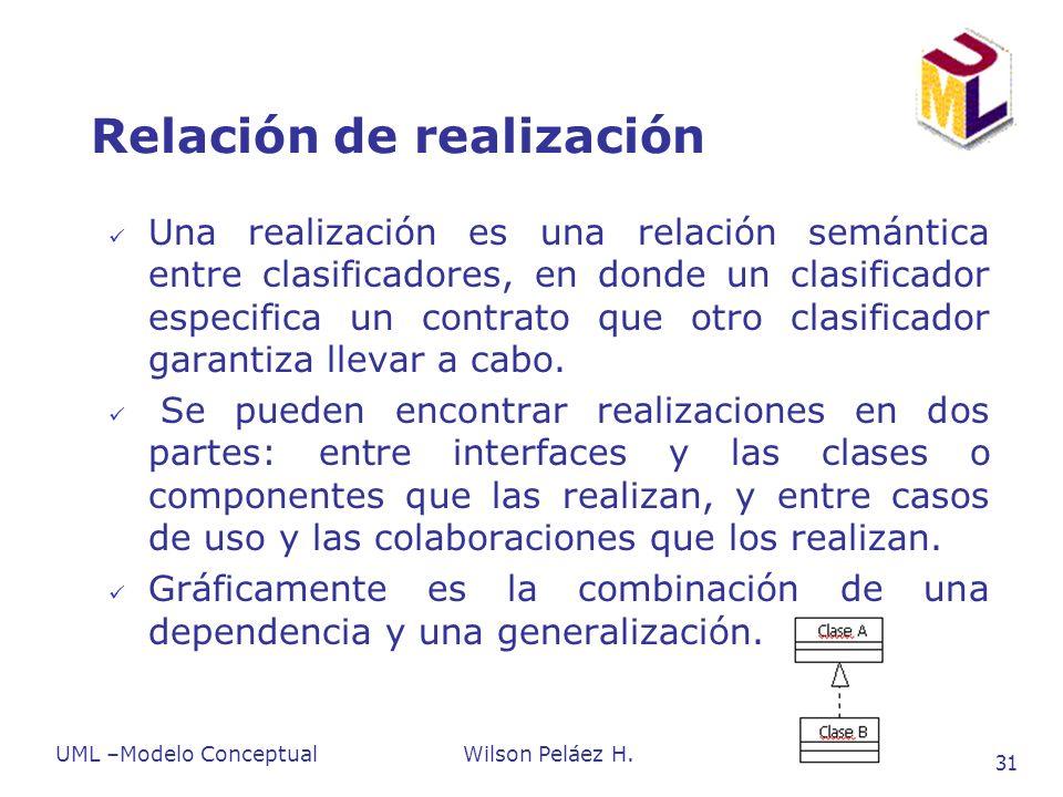 UML –Modelo ConceptualWilson Peláez H. 31 Relación de realización Una realización es una relación semántica entre clasificadores, en donde un clasific