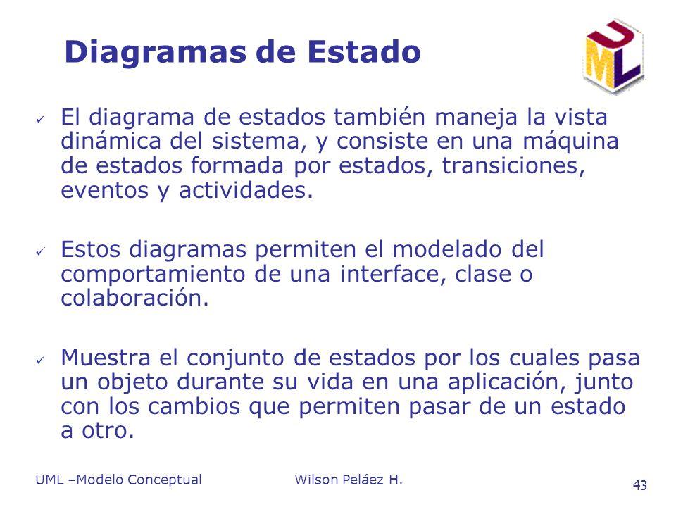 UML –Modelo ConceptualWilson Peláez H. 43 Diagramas de Estado El diagrama de estados también maneja la vista dinámica del sistema, y consiste en una m
