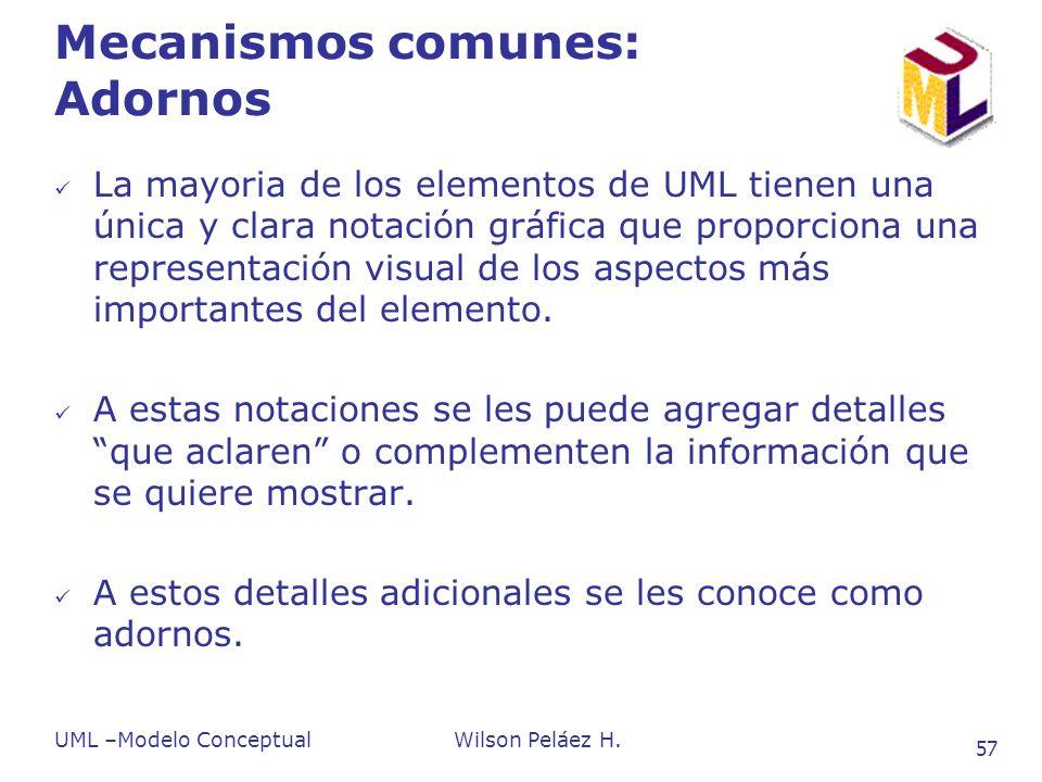 UML –Modelo ConceptualWilson Peláez H. 57 Mecanismos comunes: Adornos La mayoria de los elementos de UML tienen una única y clara notación gráfica que