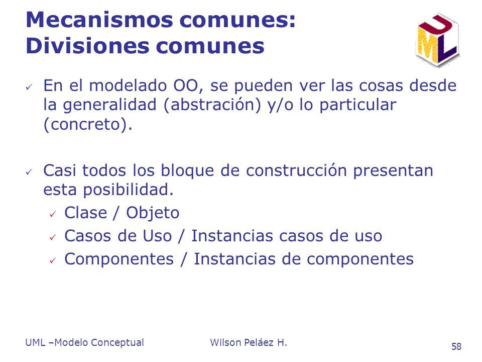 UML –Modelo ConceptualWilson Peláez H. 58 Mecanismos comunes: Divisiones comunes En el modelado OO, se pueden ver las cosas desde la generalidad (abst