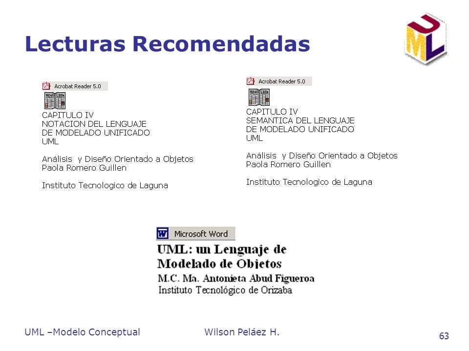 UML –Modelo ConceptualWilson Peláez H. 63 Lecturas Recomendadas