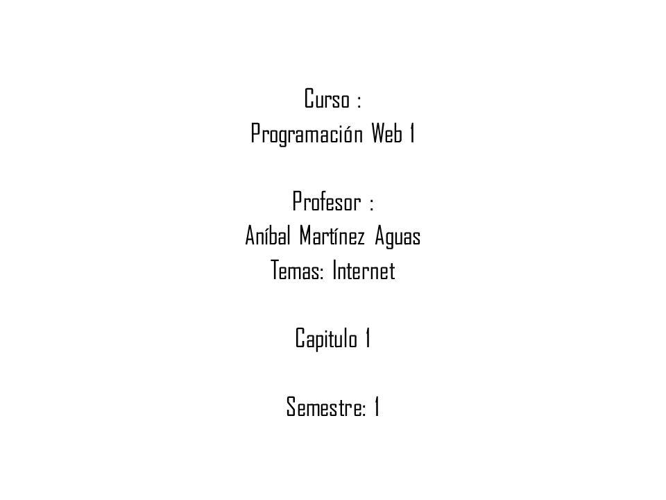 Curso : Programación Web 1 Profesor : Aníbal Martínez Aguas Temas: Internet Capitulo 1 Semestre: 1