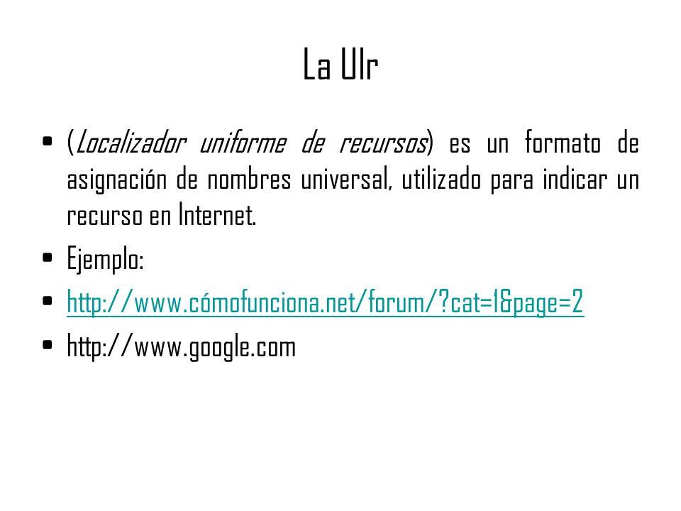 La Ulr (Localizador uniforme de recursos) es un formato de asignación de nombres universal, utilizado para indicar un recurso en Internet. Ejemplo: ht