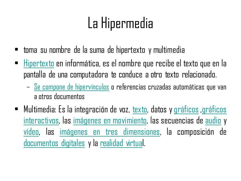 La Hipermedia toma su nombre de la suma de hipertexto y multimedia Hipertexto en informática, es el nombre que recibe el texto que en la pantalla de una computadora te conduce a otro texto relacionado.Hipertexto –Se compone de hipervínculos o referencias cruzadas automáticas que van a otros documentosSe compone de hipervínculos Multimedia: Es la integración de voz, texto, datos y gráficos,gráficos interactivos, las imágenes en movimiento, las secuencias de audio y vídeo, las imágenes en tres dimensiones, la composición de documentos digitales y la realidad virtual.textográficos interactivosimágenes en movimientoaudio vídeoimágenes en tres dimensiones documentos digitalesrealidad virtua