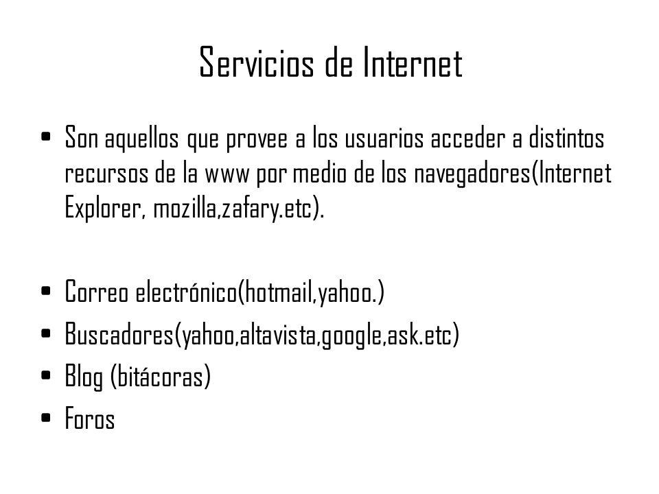 Servicios de Internet Son aquellos que provee a los usuarios acceder a distintos recursos de la www por medio de los navegadores(Internet Explorer, mozilla,zafary.etc).