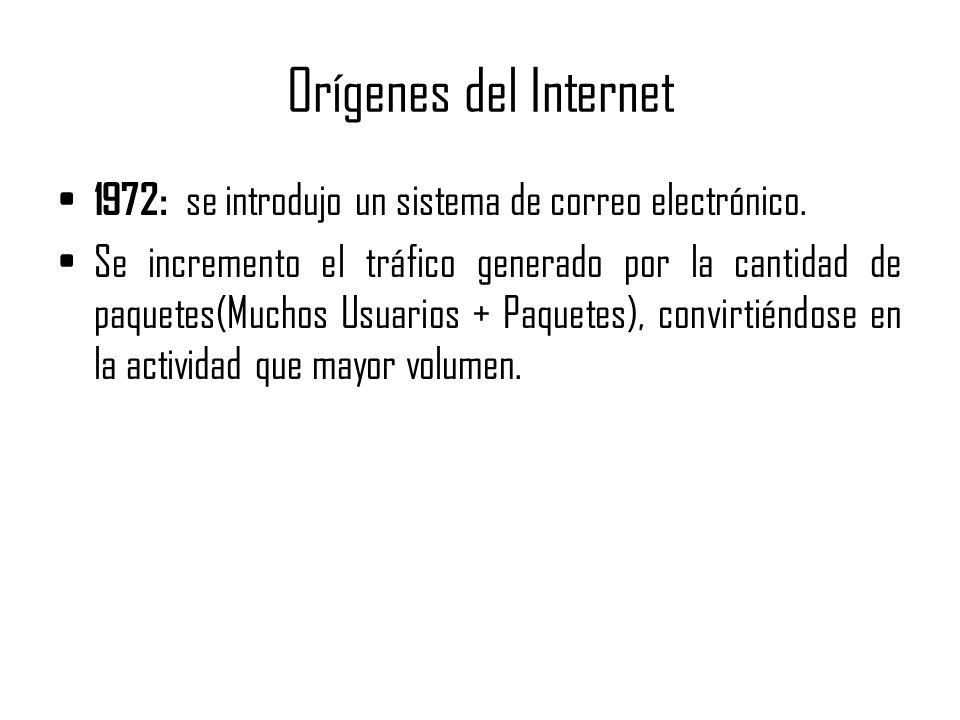 Orígenes del Internet 1972: se introdujo un sistema de correo electrónico. Se incremento el tráfico generado por la cantidad de paquetes(Muchos Usuari