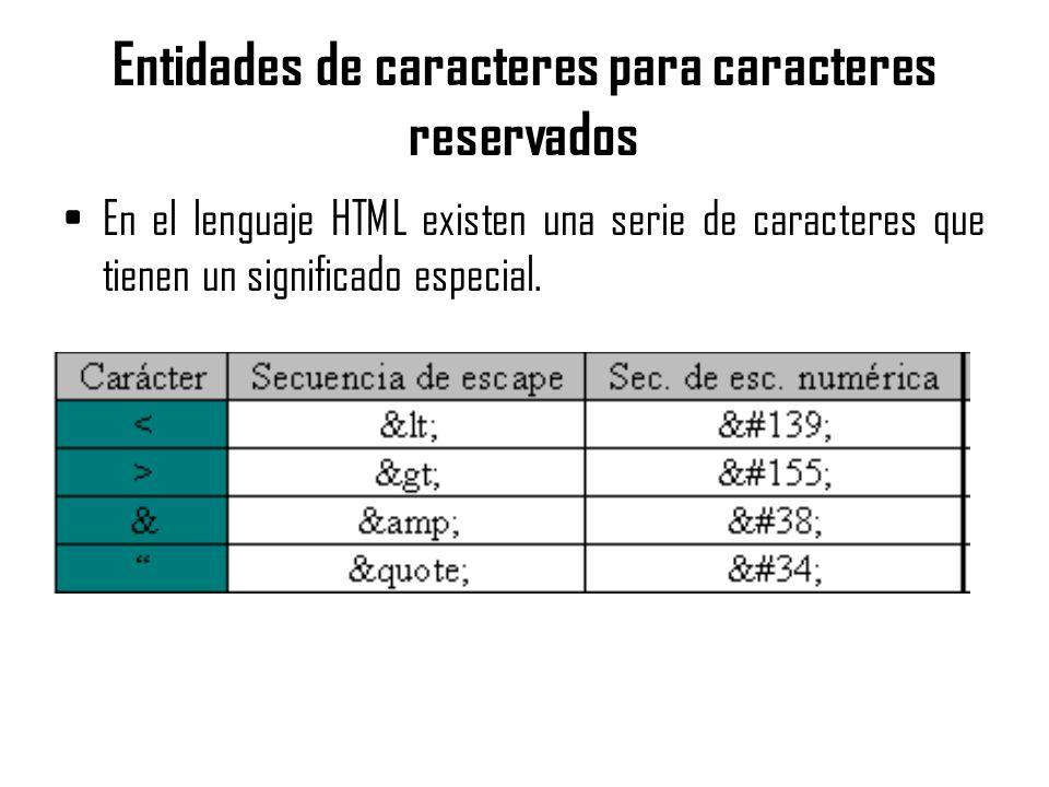 Entidades de caracteres para caracteres reservados En el lenguaje HTML existen una serie de caracteres que tienen un significado especial.