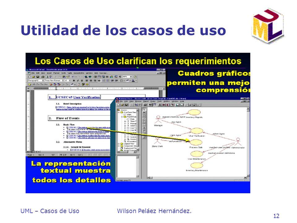 UML – Casos de UsoWilson Peláez Hernández. 12 Utilidad de los casos de uso