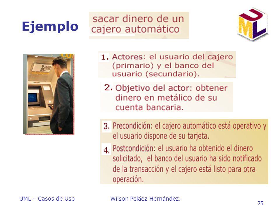 UML – Casos de UsoWilson Peláez Hernández. 25 Ejemplo