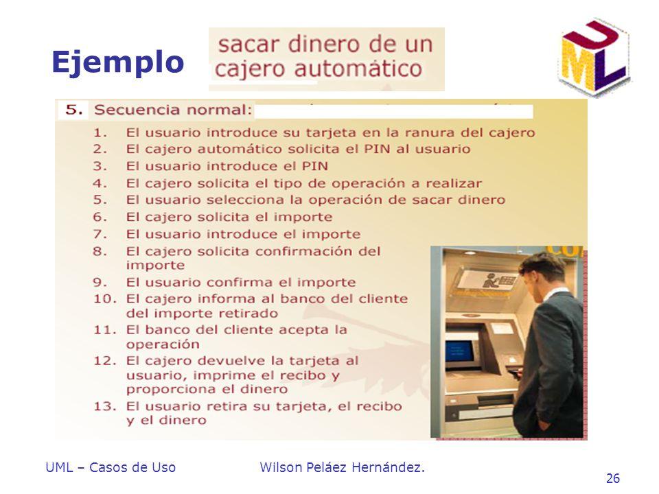 UML – Casos de UsoWilson Peláez Hernández. 26 Ejemplo