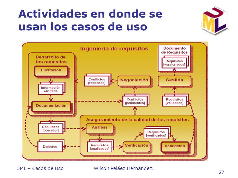 UML – Casos de UsoWilson Peláez Hernández. 27 Actividades en donde se usan los casos de uso