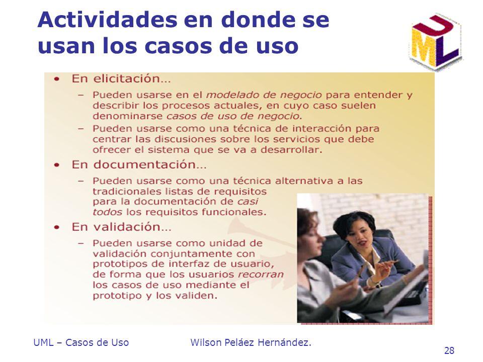 UML – Casos de UsoWilson Peláez Hernández. 28 Actividades en donde se usan los casos de uso