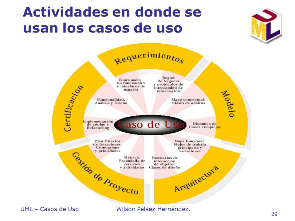 UML – Casos de UsoWilson Peláez Hernández. 29 Actividades en donde se usan los casos de uso