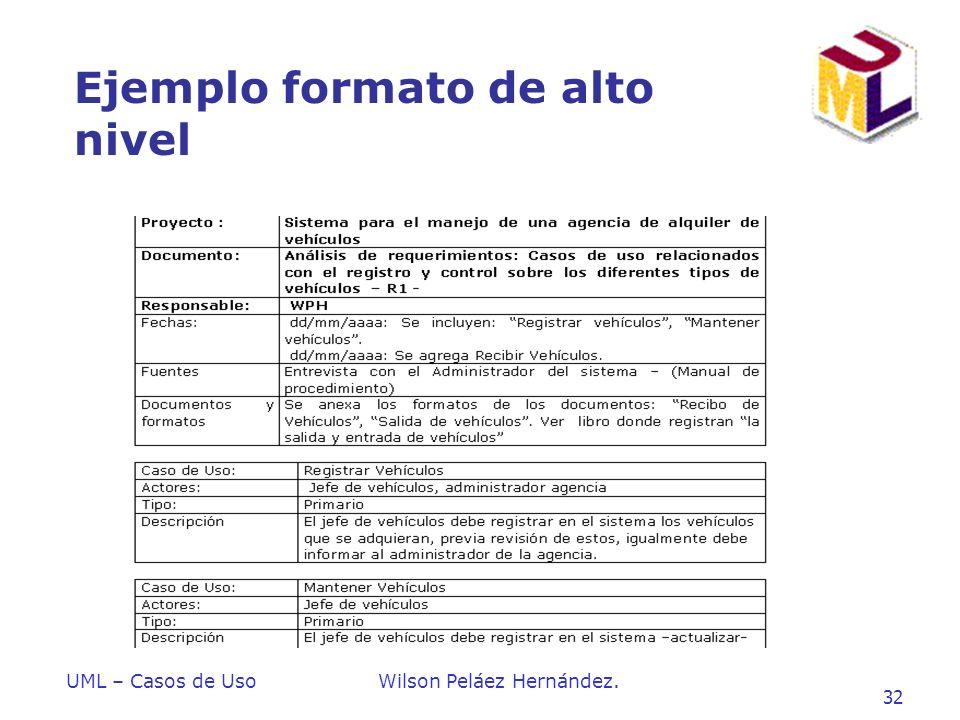 UML – Casos de UsoWilson Peláez Hernández. 32 Ejemplo formato de alto nivel