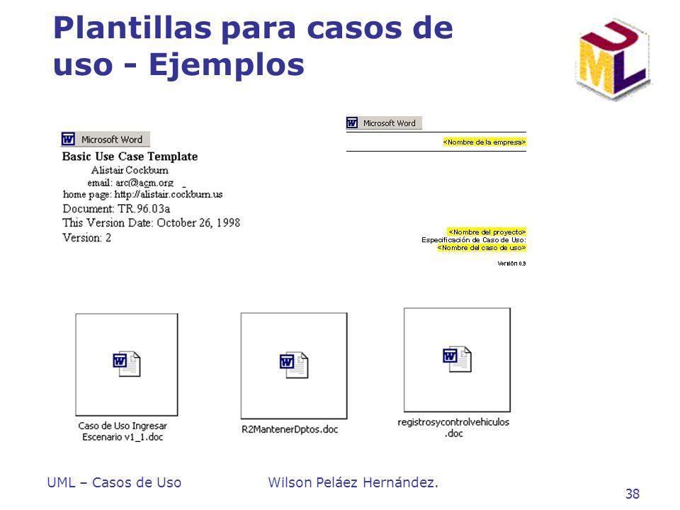 UML – Casos de UsoWilson Peláez Hernández. 38 Plantillas para casos de uso - Ejemplos