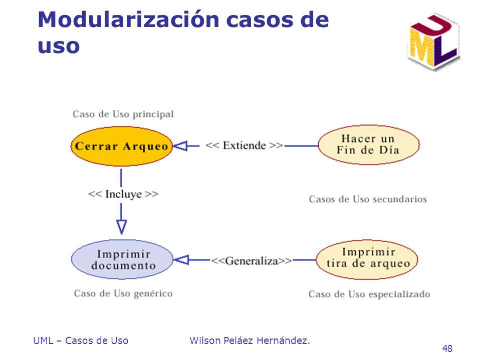 UML – Casos de UsoWilson Peláez Hernández. 48 Modularización casos de uso