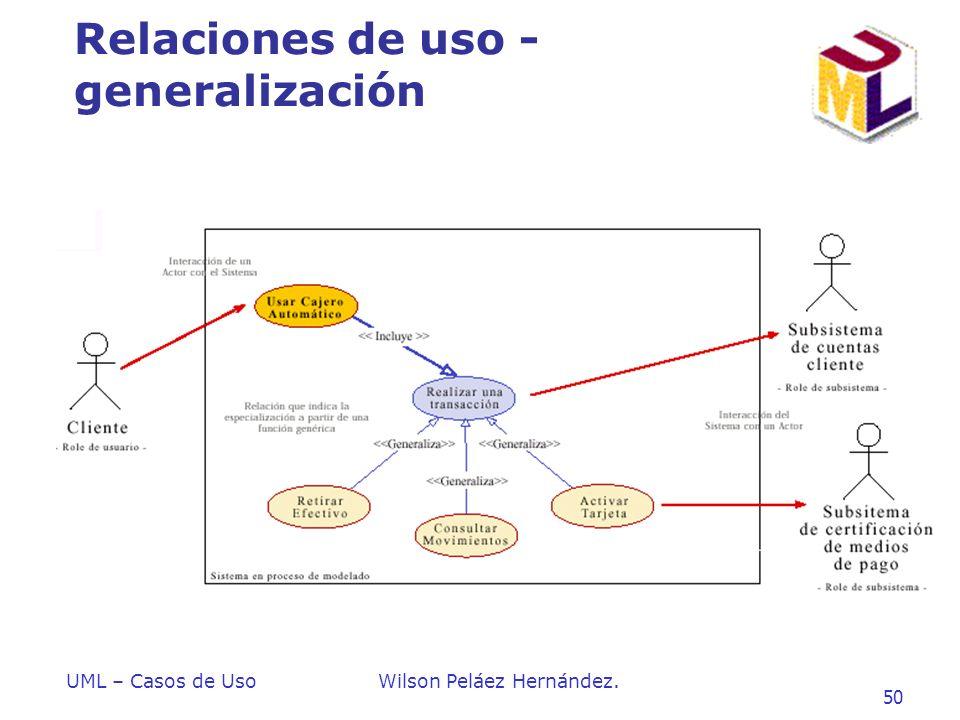 UML – Casos de UsoWilson Peláez Hernández. 50 Relaciones de uso - generalización