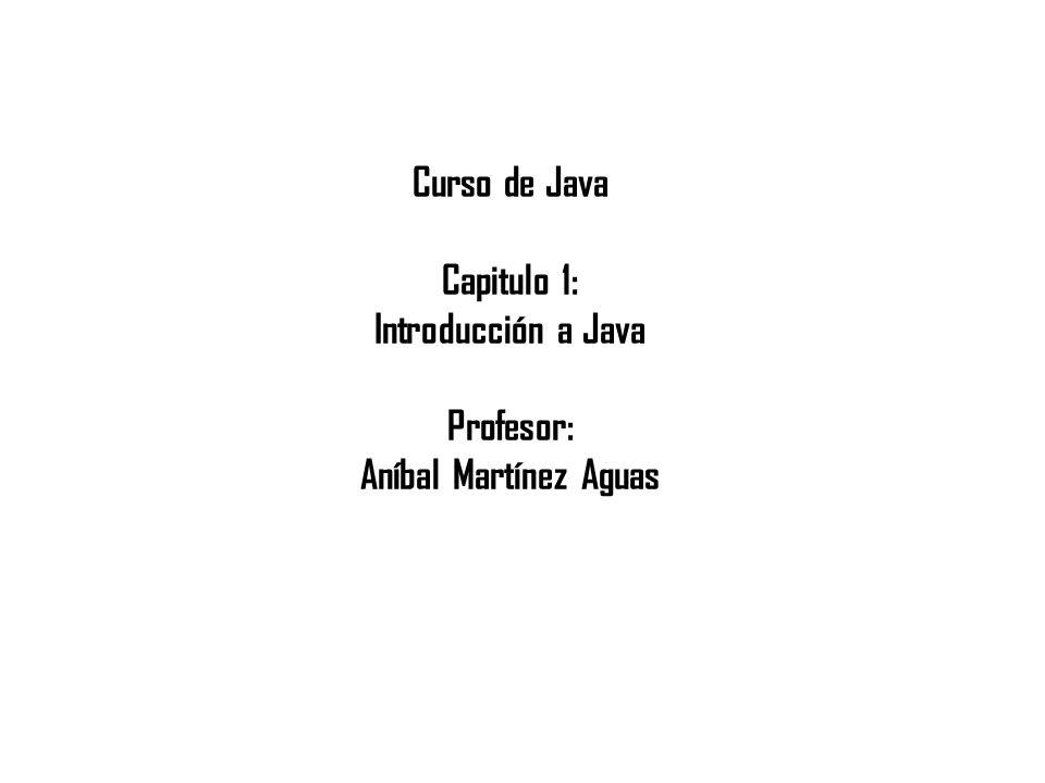 Curso de Java Capitulo 1: Introducción a Java Profesor: Aníbal Martínez Aguas