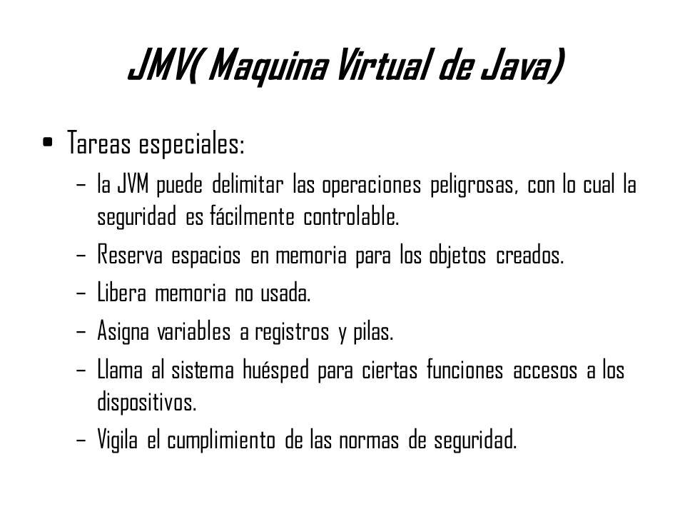 JMV( Maquina Virtual de Java) Tareas especiales: –la JVM puede delimitar las operaciones peligrosas, con lo cual la seguridad es fácilmente controlabl