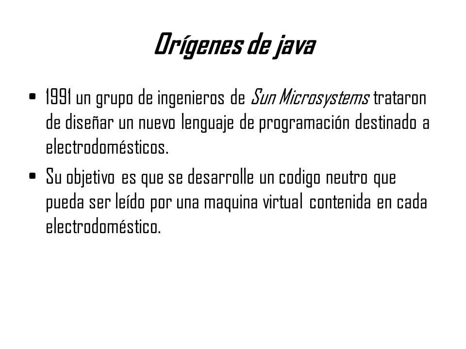 Orígenes de java 1991 un grupo de ingenieros de Sun Microsystems trataron de diseñar un nuevo lenguaje de programación destinado a electrodomésticos.