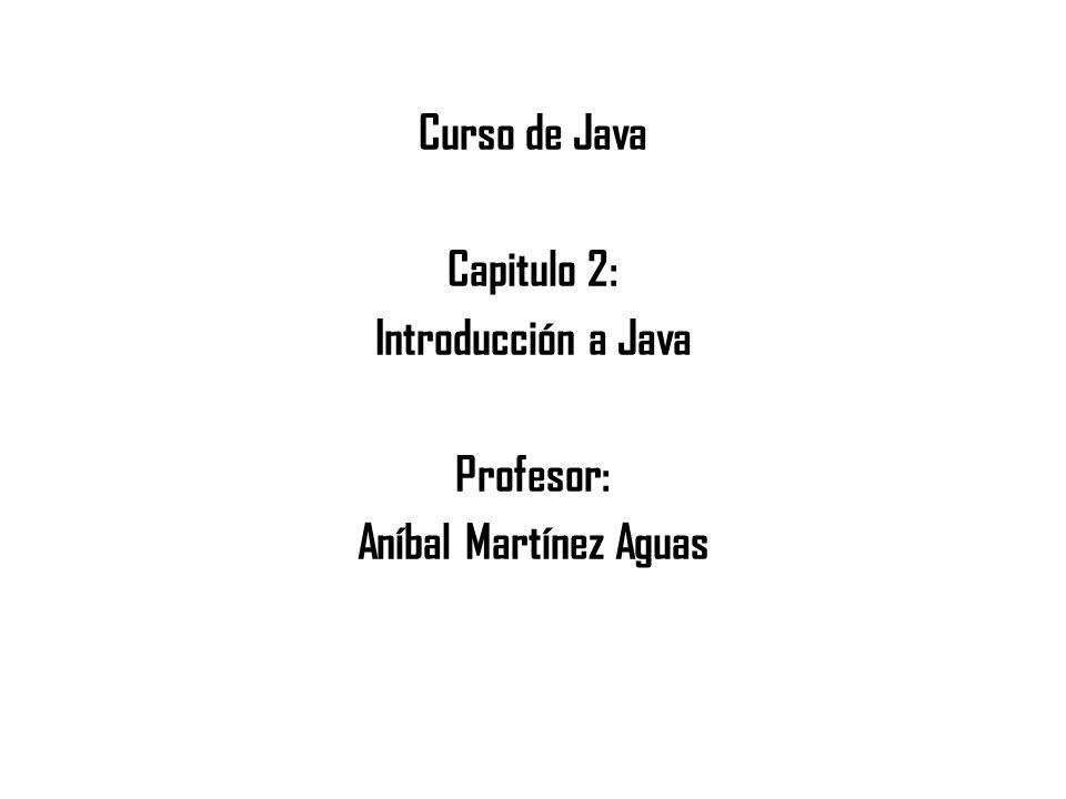 Curso de Java Capitulo 2: Introducción a Java Profesor: Aníbal Martínez Aguas