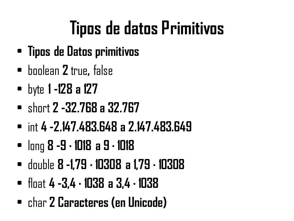 Tipos de datos Primitivos Tipos de Datos primitivos boolean 2 true, false byte 1 -128 a 127 short 2 -32.768 a 32.767 int 4 -2.147.483.648 a 2.147.483.