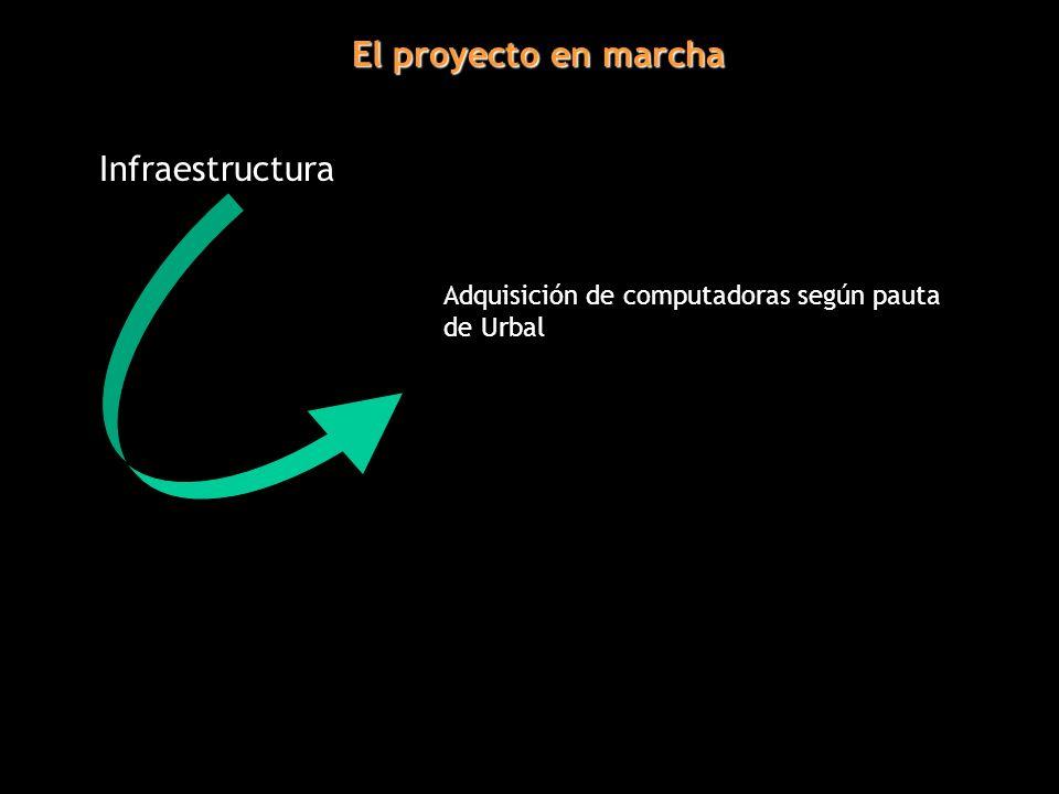 El proyecto en marcha Infraestructura Adquisición de computadoras según pauta de Urbal