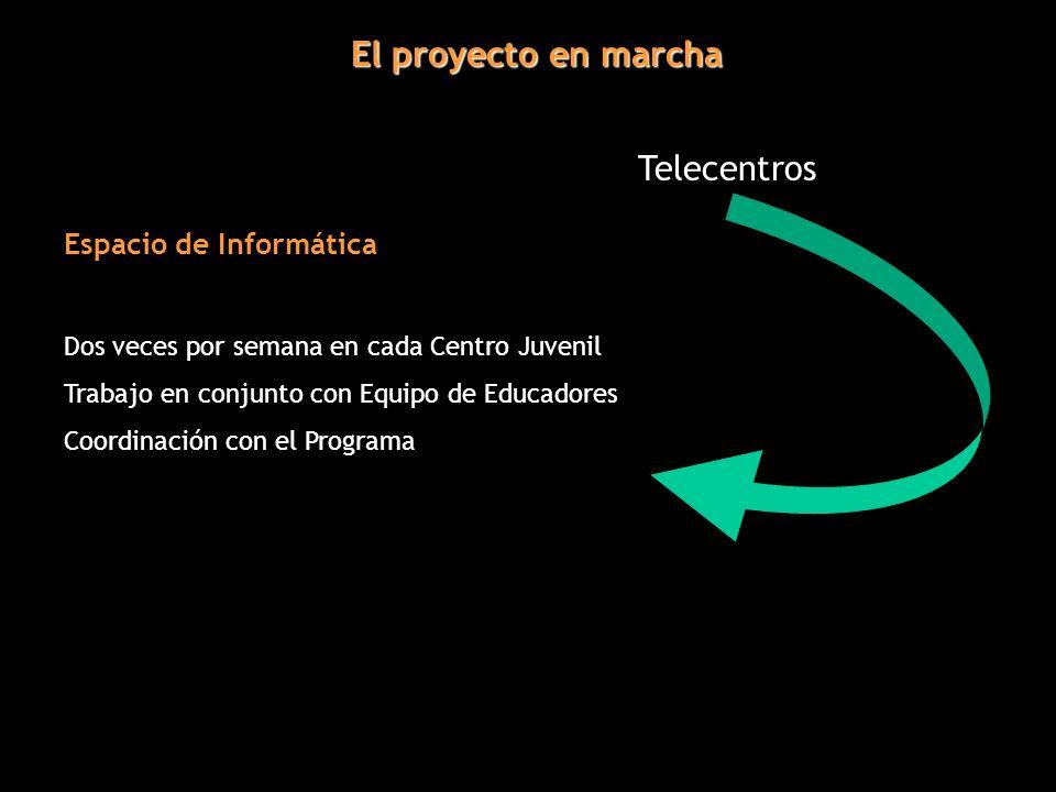 El proyecto en marcha Telecentros Espacio de Informática Dos veces por semana en cada Centro Juvenil Trabajo en conjunto con Equipo de Educadores Coordinación con el Programa
