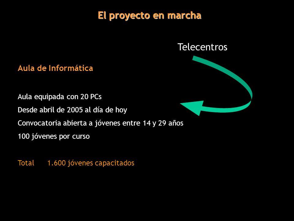 El proyecto en marcha Telecentros Aula de Informática Aula equipada con 20 PCs Desde abril de 2005 al día de hoy Convocatoria abierta a jóvenes entre 14 y 29 años 100 jóvenes por curso Total1.600 jóvenes capacitados