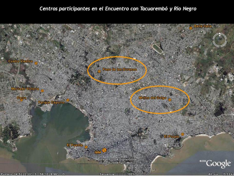 Centros participantes en el Encuentro con Tacuarembó y Río Negro
