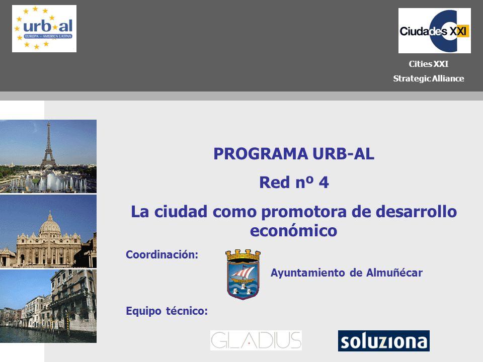 1 PROGRAMA URB-AL Red nº 4 La ciudad como promotora de desarrollo económico Cities XXI Strategic Alliance Equipo técnico: Coordinación: Ayuntamiento d