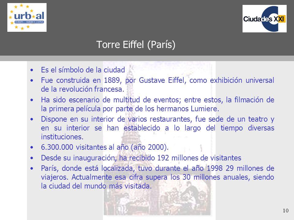10 Torre Eiffel (París) Es el símbolo de la ciudad Fue construida en 1889, por Gustave Eiffel, como exhibición universal de la revolución francesa. Ha
