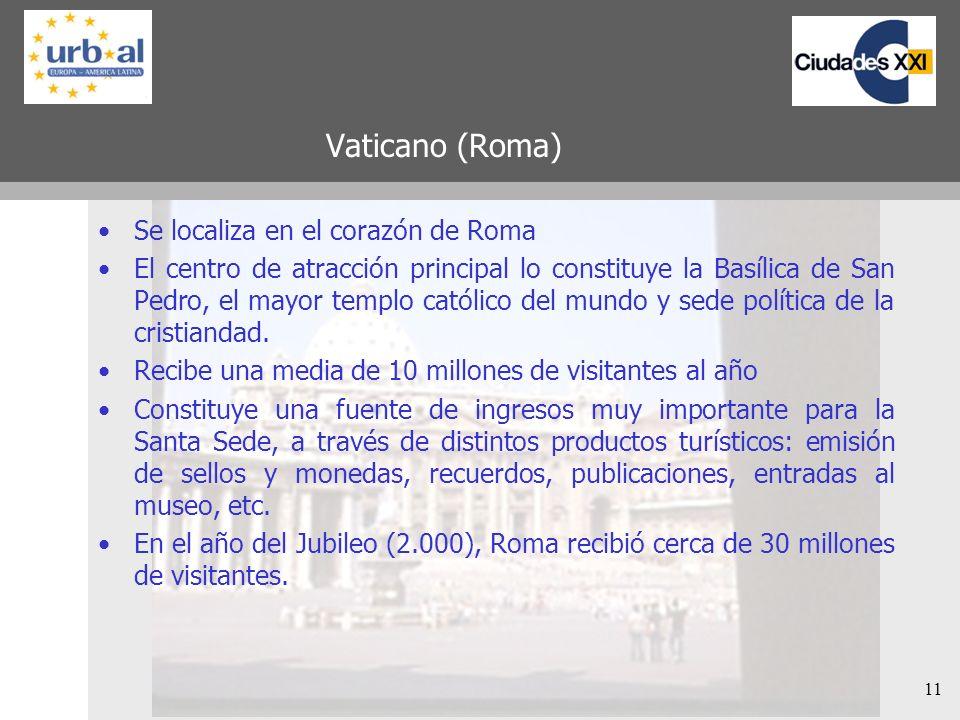 11 Vaticano (Roma) Se localiza en el corazón de Roma El centro de atracción principal lo constituye la Basílica de San Pedro, el mayor templo católico