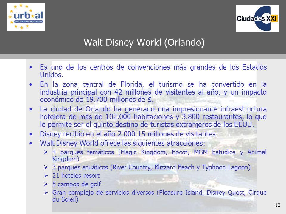12 Walt Disney World (Orlando) Es uno de los centros de convenciones más grandes de los Estados Unidos. En la zona central de Florida, el turismo se h